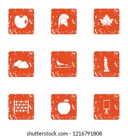 Wander icons set. Grunge set of 9 wander icons for web isolated on white background