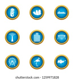 Wandering icons set. Flat set of 9 wandering icons for web isolated on white background