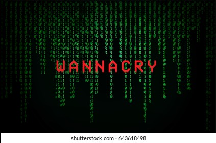 WannaCry on Binary code background. WannaCry is new malware ransomware in 2017.