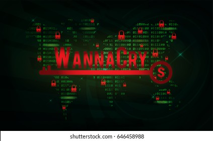 WannaCry on World Map With Binary Code background. WannaCry is new malware ransomware in 2017.