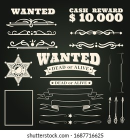 Wanted ornaments. Country vintage western saloon tattoos pattern and cowboy frame scroll elements on dark background wild west ribbon badges design illustration