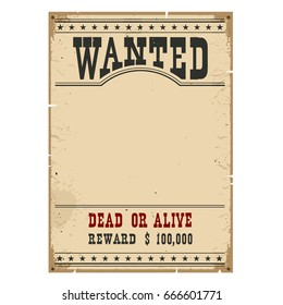 Wanted poster on wood wall texture for portrait.Western vintage paper.Raster