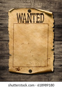 Wanted for reward poster 3d illustration