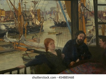 Wapping, by James McNeill Whistler, 1860-64, American painting, oil on canvas. On the Thames waterside at Wapping, Whistler's mistress, Johanna Hiffernan, and Parisian painter, Alphonse Legros, sit a