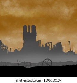 War battle scene background illustration with destruction. Silhouettes in background. Original illustration.