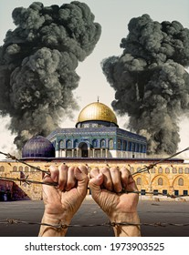 The war between Israel and Palestine. The smoke behind the Masjid Aqsa. Hands trying to escape from captivity. Barbed wire. Photo manipulation. Events in Jerusalem. Dome of the Rock.