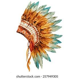 war bonnet, watercolor, feathers