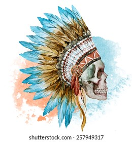 war bonnet, watercolor, skull, head, feathers
