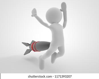 war concept missile or rocket fire and shot one man to back 3d illustration