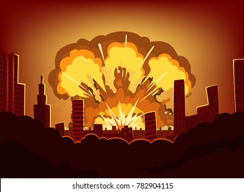 War and damages after big explosion in the city. Monochrome urban landscape with burn sky after atomic bomb. Nuclear radioactive armageddon, illustration