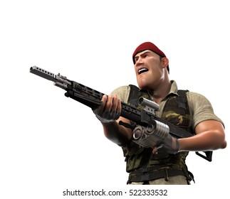 War Dog holding gun 3d illustration