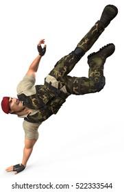 War Dog power kick 3d illustration
