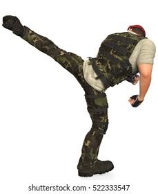 War Dog side  kick back view 3d illustration