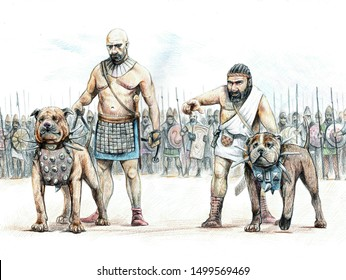 War dogs of ancient Assyria. Assyrian army before the Battle. Historical illustration.