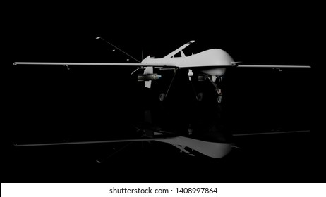 War drone 3d rendering, isolated on a black background