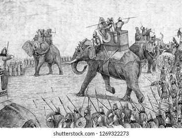 War elephant illustration, army of Carthage. Acrylic illustration.