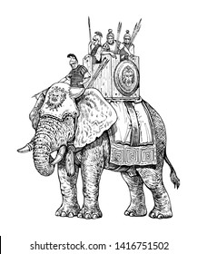 War elephant illustration, army of Carthage. Historical drawing.