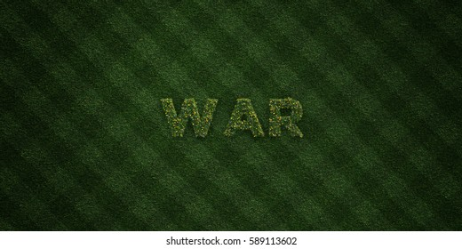 WAR - fresh Grass letters with flowers and dandelions - 3D rendered royalty free stock image. Can be used for online banner ads and direct mailers.