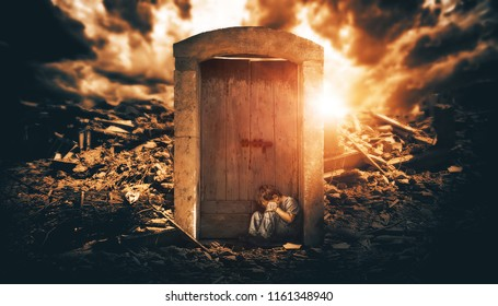 war homeless child - destroyed house - alone child