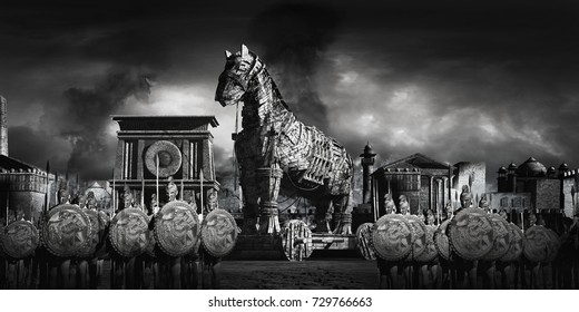 War scene with ancient city, warriors and wooden horse. 3D illustration.