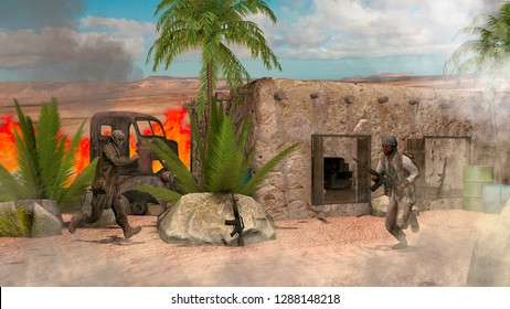 War scene, Islamic rebels, Middle Eastern landscape. Terrorism, terrorist attack. Arab world, rural and isolated homes. Soldiers, militias, rebels. 3d rendering