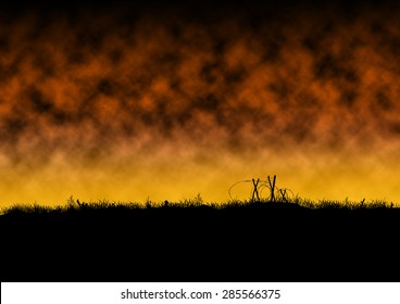 War scene silhouette with a fiery background of smoke and clouds. Barded wire is on the battlefield.