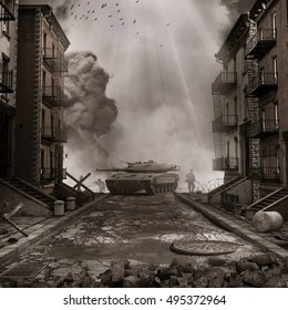 War scenery with tank on the street of destroyed city. 3D illustration.