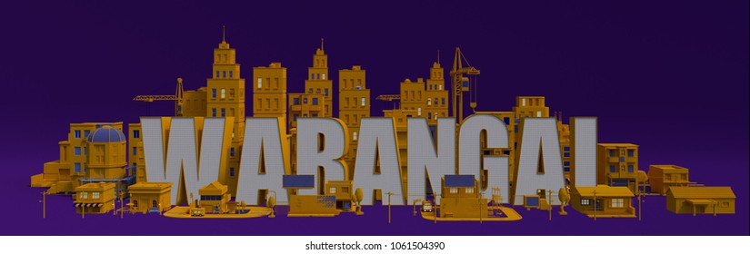 Warangal lettering name, illustration 3d rendering city with buildings
