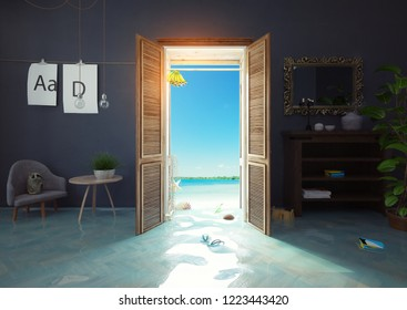 the wardrobe cabinet as the door to the sea. 3d rendering creative concept
