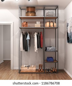 wardrobe in a minimalist style in a room against a white wall. 3d illustration