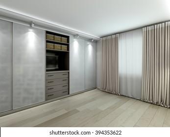 The wardrobe in the modern interior 3D