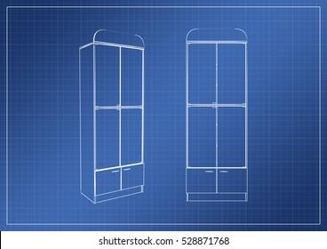 Wardrobe on paper blueprint 3 d rendering stock illustration wardrobe on paper blueprint 3d rendering malvernweather Choice Image