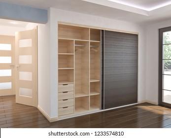 Wardrobe - Sliding doors, 3D illustration
