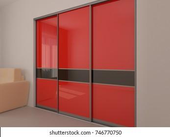 Wardrobe with sliding doors. Furniture. Interior design. 3D render