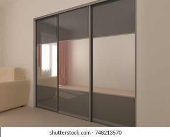 Wardrobe with sliding doors. Furniture. Interior design. 3D render