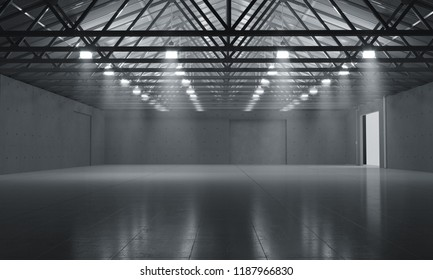 Warehouse empty dark car showroom 3D rendering