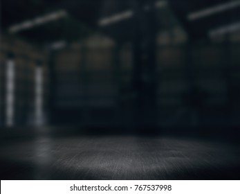 Warehouse empty,Pedestal. Platform.Product showcase background Warehouse blurred .3D rendering