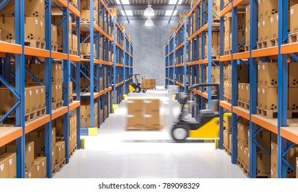 warehouse and forklift in action 3d rendering image
