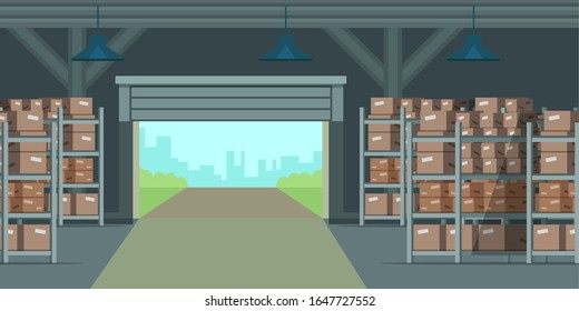 Warehouse indoors illustration. Factory storehouse cartoon background. Distribution, logistics, shipment. Raster copy