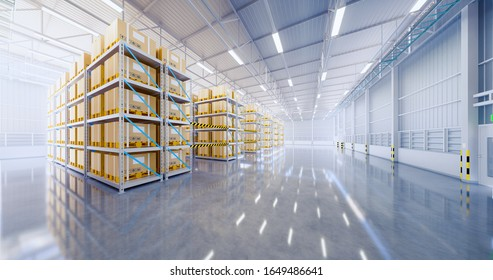 Warehouse or industry building interior. known as distribution center, retail warehouse. Part of storage and shipping system. Included box package on shelf, empty space and concrete floor. 3d render.