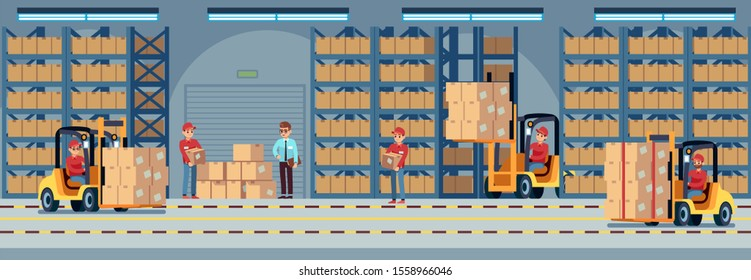 Warehouse interior. Industrial factory worker working in stockroom of storehouse. Forklift and delivery truck with loader and wooden container in large hangar logistic concept