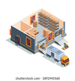 Warehouse isometric. Big storage house machines forklift transportation and loading truck warehouse building cross section