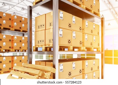 Warehouse logistics, packages shipment, freight transportation and delivery concept, storage racks with cardboard boxes in retail store building interior, 3d illustration