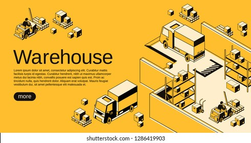 Warehouse logistics and shipment illustration in isometric black thin line art on yellow halftone background. Storehouse workers on loader forklift trucks with delivery parcels on pallets
