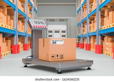 Warehouse scale with parcel in storehouse, 3D rendering