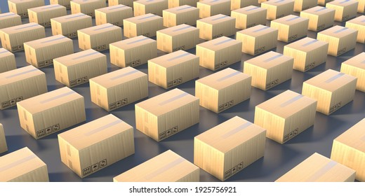 Warehouse storage cardboard boxes background, Carton packages on the industrial floor. Manufacture, packaging and logistics concept. 3d illustration