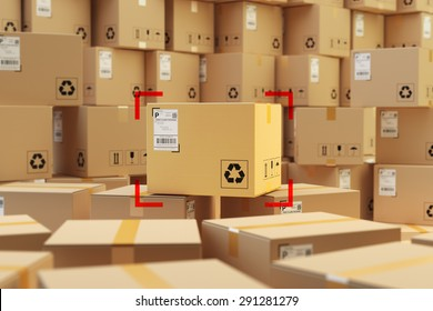 Warehouse storage, packages delivery concept, focus on cardboard box purchase and background with stack of parcels