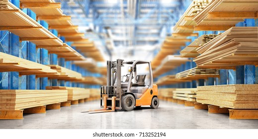 Warehouse with variety of timber for construction and repair. Delivery concept. 3d illustration