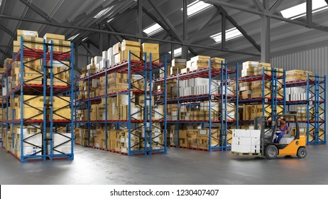 Warehouse worker with forklift in the warehouse of a freight forwarder (3D Rendering)