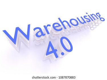 Warehousing 4.0, words in blue letters on white background, 3D rendering